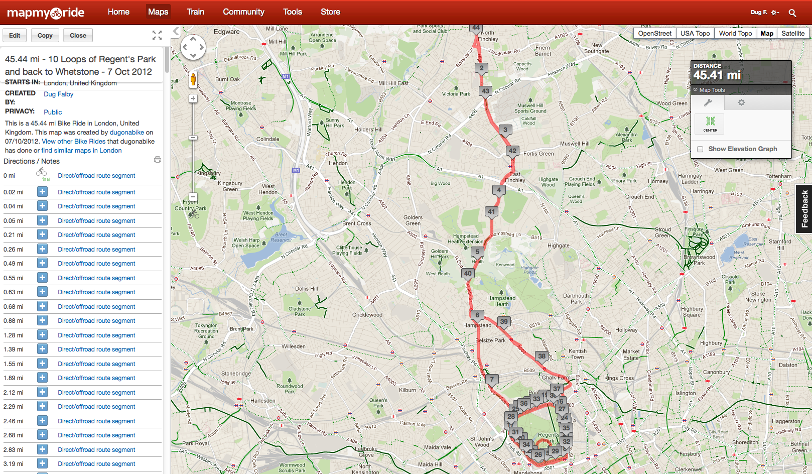 45.44 miles -- -) Looping Regents Park and back to Whetstone