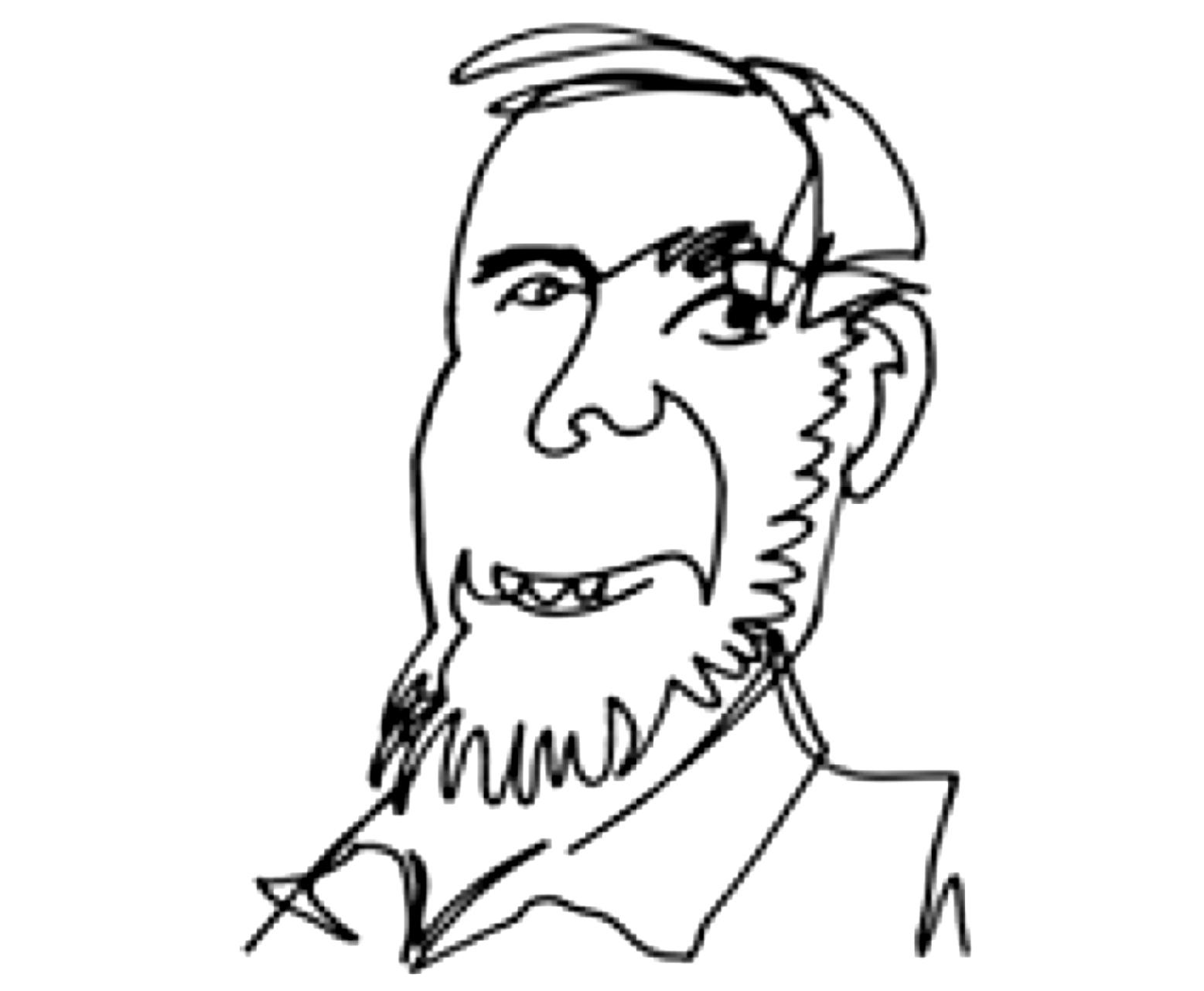 Mr Kelly's line drawn avatar