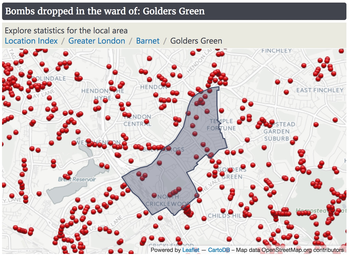 Map of the area in North London where Granddad lived when he was a wee boy. The map shows where the bombs dropped