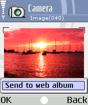A screengrab from a Nokia 7610 shows the one-click image upload interface